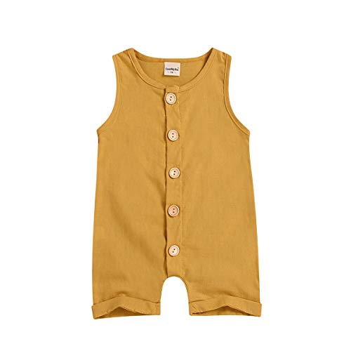 XiaoReddou One Piece Outfits Baby Solid White Rompers with Button Kids Sleeveless Playsuit Jumpsuits Pants Cotton Clothing (Yellow, 12-18 ()