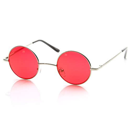 MLC EYEWEAR Small Metal Round Circle Color Tint Lennon Style Sunglasses (Silver, - Colour Sunglasses Red