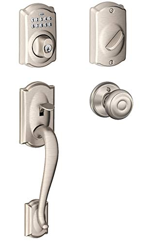 Schlage FE365-CAM-GEO Camelot Electronic Handleset with Georgian Knob, Satin Nickel