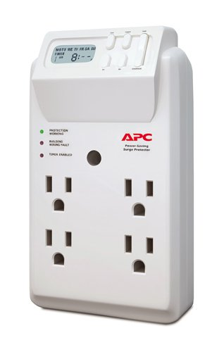 APC 4-Outlet Wall Surge Protector with Timer-Controlled Outlets, SurgeArrest Essential (P4GC), White