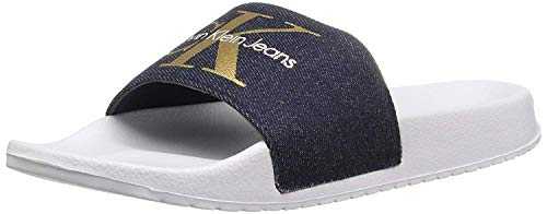 Calvin Klein Jeans Women's Chantal Metal Flip Flop, Midnight/Gold, 10 M US
