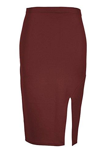 Smart dcontract Tube fte UK femmes pour Oops Split Bordeaux Wiggle t Jupe bodycon adapt Taille 8C26 fente extensible crayon Outlet Midi plus c f8xz0q