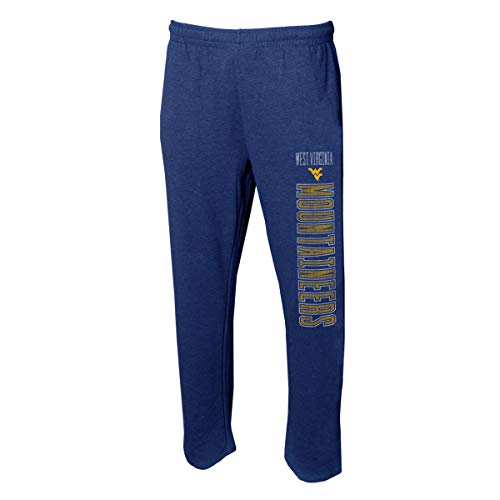 (Concepts Sport Men's NCAA -Squeeze Play- Terry Cloth Sleepwear Pajama Pants-Heathered-West Virginia Mountaineers-Large)