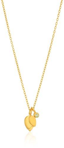 Peridot Journey Pendant - Satya Jewelry Peridot Gold Plate Lotus Petal Birthstone Pendant Necklace, 18-Inch, Green