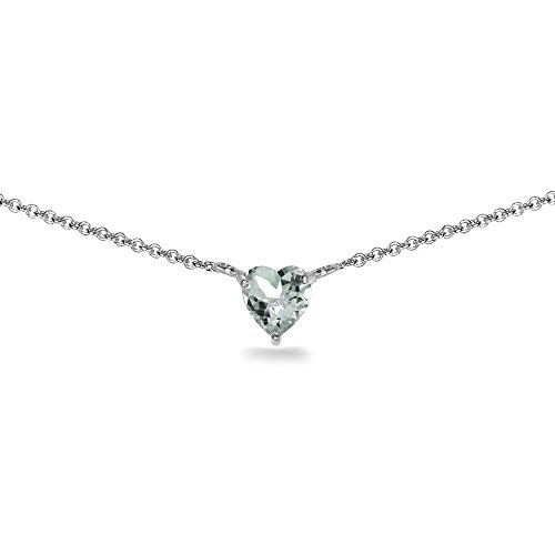 - Sterling Silver Light Aquamarine 7x7mm Heart Shaped Dainty Choker Necklace