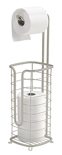 mDesign Free Standing Toilet Paper Holder Stand and Dispenser, with Storage for 3 Spare Rolls of Toilet Tissue while Dispensing 1 Roll - for Bathrooms/Powder Rooms - Holds Mega Rolls - Satin - Freestanding Spare Toilet Roll