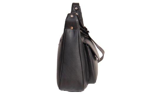 Mesdames cuir véritable Sac à bandoulière Femmes Croix corps Sac BUDAPEST Noir