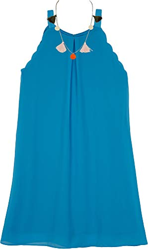 Tween Dresses Size 14 (Amy Byer Girls' Big Sleeveless a-Line Dress with Necklace, Sunset Blue,)