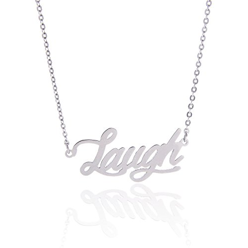 HUAN XUN Stainless Steel Happy Word Necklace, Laugh,Live Love Laugh Jewelry