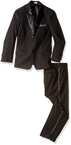 Calvin Klein Big Boys' Big 2-Piece Formal Tuxedo Set, Black, 20 Husky Calvin Klein 2 Button Tuxedo