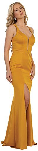 54c9eb6f7b Formal Dress Shops May Queen MQ1561 Simple Sexy Evening Prom Gown (Mustard
