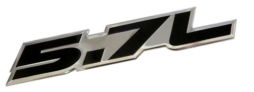 ERPART 5.7L Liter in BLACK on SILVER Highly Polished Aluminum Car Truck Engine Swap Nameplate Badge Logo Emblem