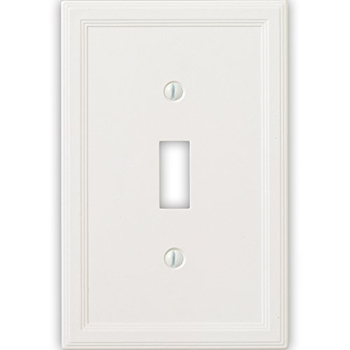 Single Switch Decorative Switchplate Cover (Questech Cornice Insulated Decorative Switch Plate/Wall Plate Cover – Made in the USA (Single Toggle, White))