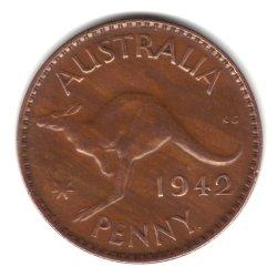 - 1942 (p) Australia Large Penny Coin Km#36