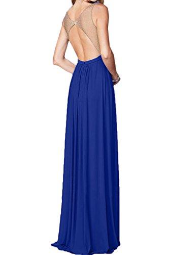 A Ausschnitt amp;Chiffon Liebling Festkleid V Promkleid Royalblau Steine Tuell Damen Abendkleid Ivydressing Linie Partykleid wgaq66