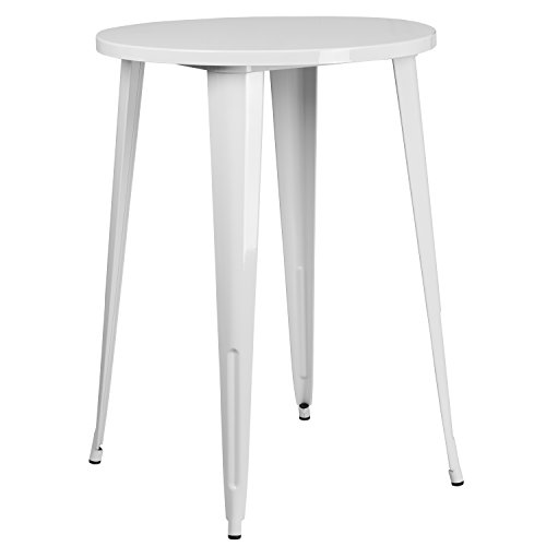 Flash Furniture 30'' Round White Metal Indoor-Outdoor Bar Height Table (Outdoors And Bar Cafe)