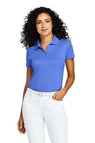 Chicory Apparel - Lands' End Women's Petite Supima Cotton Polo Shirt Short Sleeve, L, Chicory Blue