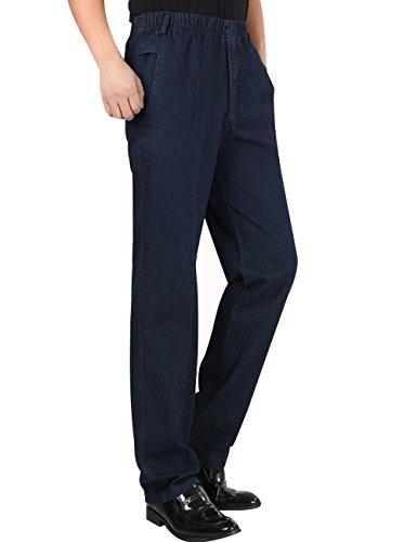 Pantalones Verano elástica Cintura rectos Hombres Azul Youlee Primavera Jeans Oscuro fXq5SBPRxw