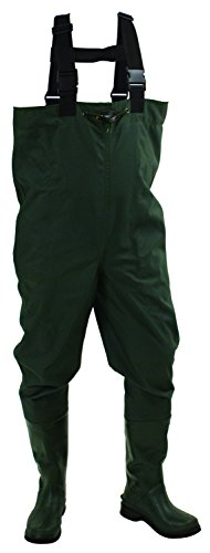 Frogg Toggs Cascades 2-ply Poly/Rubber Bootfoot Chest Wader, Cleated Outsole, Forest Green, Size 10 ()