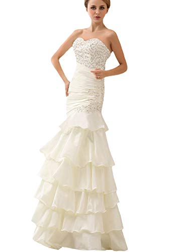 (JOYNO BRIDE Slim Sequin Ruffle Floor Length Strapless Taffeta Mermaid Wedding Dresses(4,Ivory))