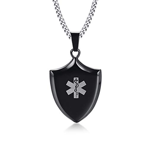 (LiFashion LF Mens Stainless Steel ICE SOS Epilepsy Medical Alert ID Shield Tag Pendant Necklace Monitoring Emergency for Friend Grandpa Dad Husband Son)