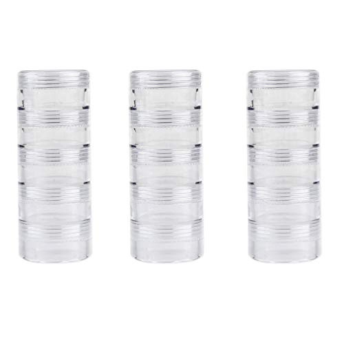 Apothecary Jars Stackable 5 Layer Cylinder Transparent Round Ps Plastic Storage Container Box Super Clear Accessories Organizer Box for Beads Crafts Other Small Items 3 Column Combination -