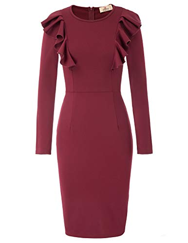 Office Wear Midi Red GRACE Bodycon Work to Business Women KARIN Ruffle Dress Pencil 7Aqqwc80t