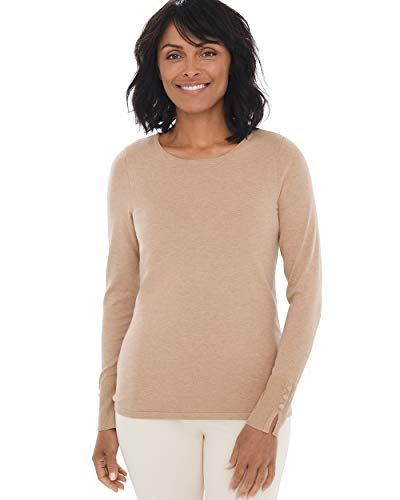 Chico's Women's Button-Sleeve Pullover Knit Sweater Top Size 12/14 L (2) Tan