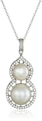 (Bella Pearl Double Pearl Cubic Zirconia Pendant Necklace)