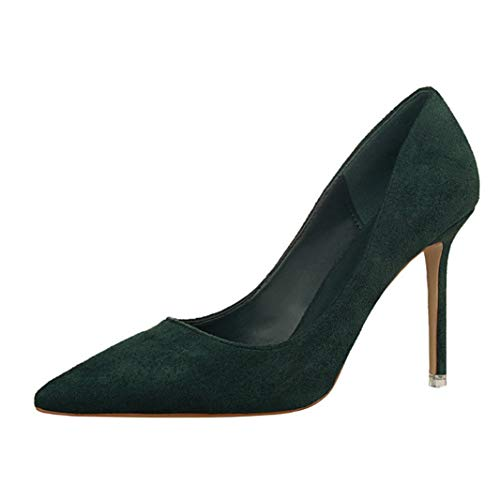 (Drew Toby Women Pumps Shallow Pointed Toe OL Concise Suede Sexy High Heels)