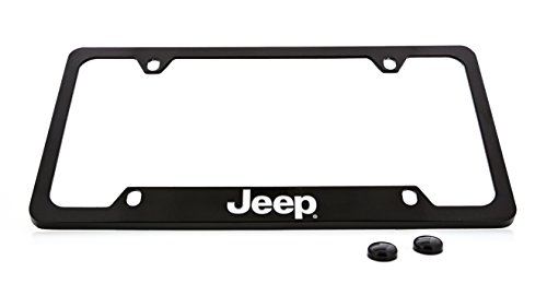 Jeep Wordmark License Plate Frame Holder (4 Hole / Brass, Black / Bottom)
