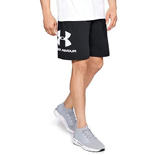 Under Armour Men's sportstyle Cotton Graphic Short, Black (001)/White, Large