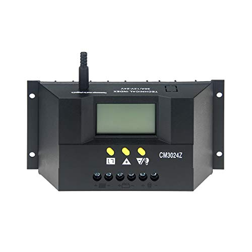 Daxieworld Solar Charge Controller 30 Amp Solar Controller 12V/24V Auto PWM Solar Panel Intelligent Regulator with LCD Display(CM3024Z)