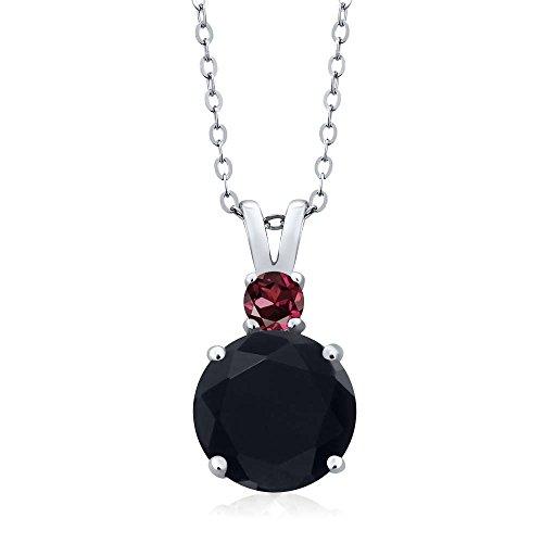 Gem Stone King 3.12 Ct Round Black Onyx Red Rhodolite Garnet 925 Sterling Silver Women's Pendant + 18inches Chain