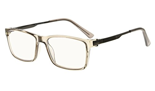 Eyekepper Noline Bifocal Progressive Multifocus Glasses 3 Levels Vision Reading Glasses Amber Tinted Blue Light Blocking (Grey Frame, 1.50)