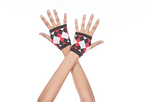 [Music Legs Women's Opaque Fingerless Gloves with Jester Diamond Print, Black, One Size] (Adult Diamond Jester Costumes)