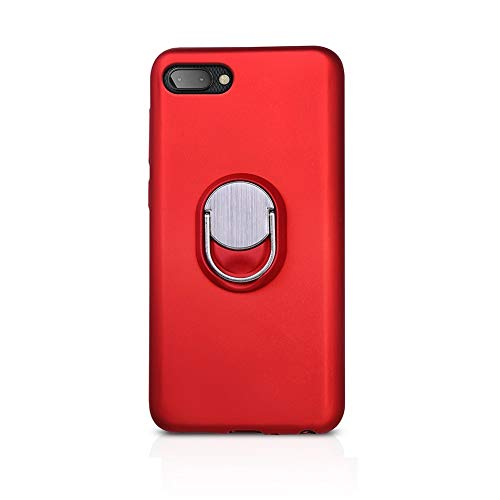BlackBerry KEY2 LE Case, Rotating Ring [ 360°Kickstand ] Soft Slim TPU [ Ultra-Thin ] Protection Cases Cover Compatible [Magnetic Car Mount] BlackBerry KEY2 LE (Red-1)