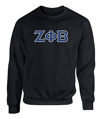 - Zeta Phi Beta Embroidered Twill Letter Crew Neck Sweatshirt Black Extra Large