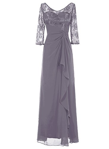 Bbonlinedress Long Chiffon Lace Ruched Cocktail Wedding Dress Mother Of Bride Dresses Grey 4