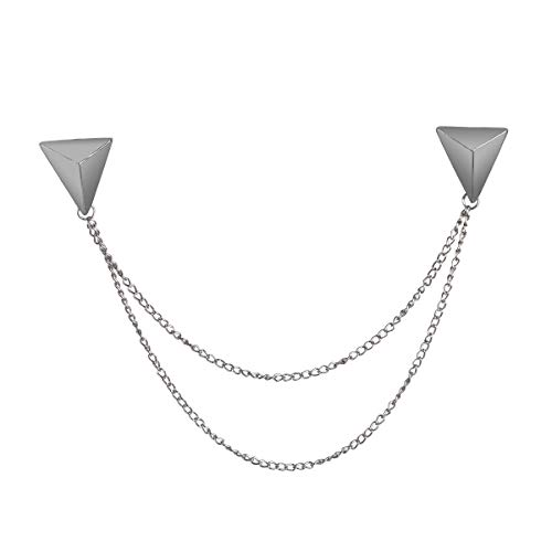 LKXHarleya Silver Stud Double Chain Brooch Pin,Shirts Neck Collar Tips with Tassel Chain,Blouse Lapel Pin for Suits