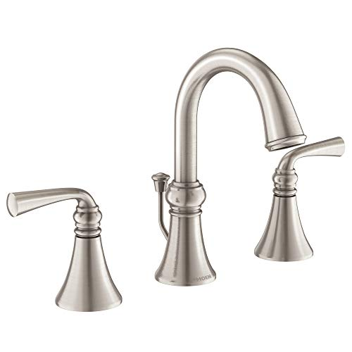 Moen WS84855SRN Wetherly Two-Handle Widespread Bathroom Faucet with Valve Included, Spot Resist Brushed Nickel Arc Widespread Bath Faucet