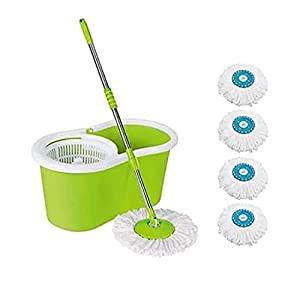 R.M. Fab Spin Mop, Oval Bucket with Plastic Basket, 2 Refills_Multicolor6