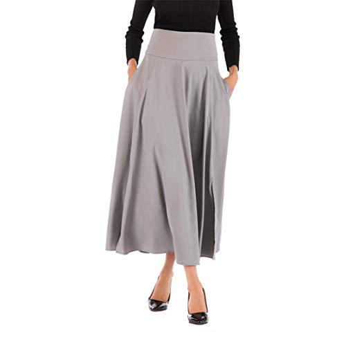 (Mikey Store Women High Waist Pleated A Line Long Skirt Front Slit Belted Maxi Skirt Gray)