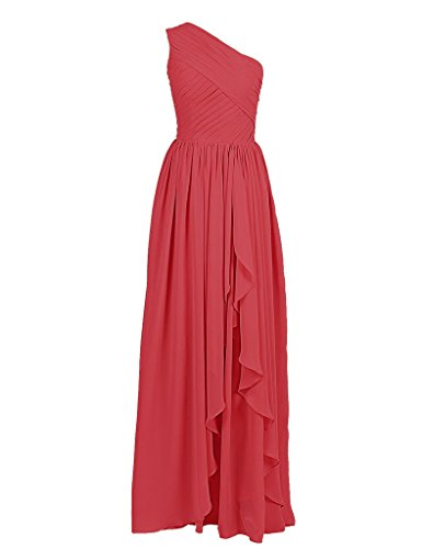ASBridal Women's Long Chiffon One Shoulder Bridesmaids Prom Dress Pleated Aline Evening Gown, Red, US24W ()