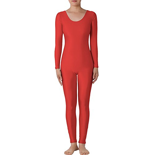 [Muka Scoop Neck Long Sleeve Unitard Lycra Zentai Bodysuit Catsuit Dancewear RED-XL] (Nice Sailor Costumes)