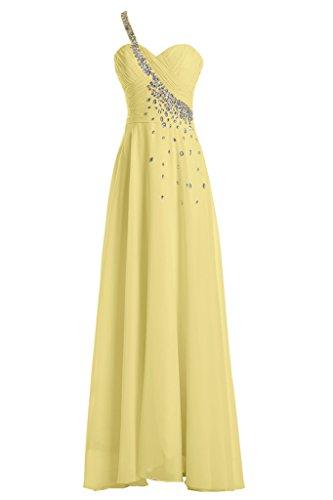 sunvary Graceful único correa Sweetheart Fiesta Vestidos dama de longitud completa amarillo
