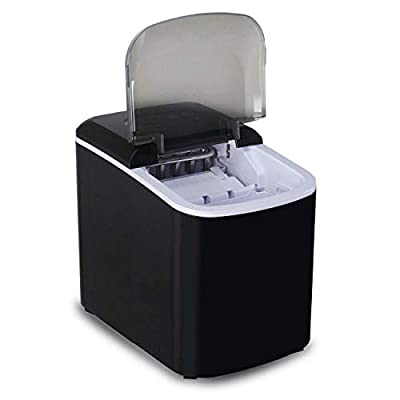 Compact and Portable Electric Ice Maker Producing - 26lbs per Day Bullet-Shaped Ice 2 Cube Size Black Color