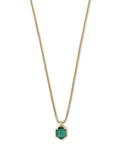 Kendra Scott Teo Pendant Necklace in Emerald Glass Cats Eye and Gold