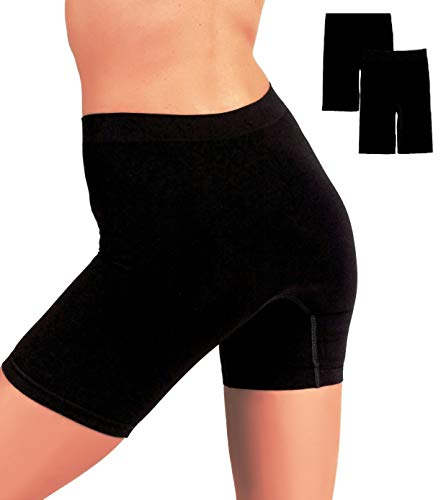 (EVARI Women's Seamless Slip Shorts Ultra Soft Boy Shorts Panties (Black, Large))