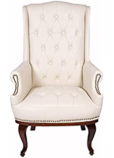 ANGEL HOME U0026 LEISURE Queen Anne Fireside High Back Wing Back Cream Leather  Chair Chesterfield Type